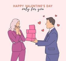 kärlek, dejting, romantik, relation, samhörighet, par koncept. stilig ung lycklig man seriefigur som ger gåvor till chockad kvinna. modern linje stil illustration vektor