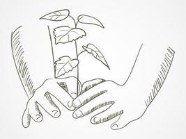 streckkonst av händer som planterar trädet vektor