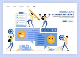 Menschen geben positive negative Rückmeldungen mit Emoticons in Kommentaren. Überprüfen und überprüfen Sie die Bewertung der Benutzerzufriedenheit. kann für Landing Page Template verwendet werden ui ux Web Mobile App Poster Banner Website Flyer Anzeigen vektor