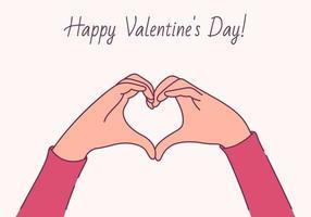 Glücklicher Valentinstag, Liebeskonzept. weibliche Hände in Form von Herzen vektor