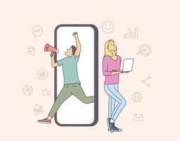Konzept für Finanzen, Analytik und Teamarbeit. Mann und Frau Geschäftspartner Arbeiter. Zeichentrickfiguren, die Finanzdaten und Marketinginformationsstatistiken gemeinsam analysieren