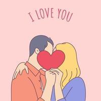 livsstilskoncept på alla hjärtans dag tema. par kyssar och täcker ansikten med pappershjärta. romantisk vektorillustration på kärlekshistoria tema.