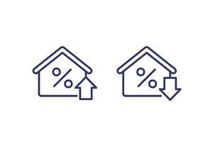 Hypothekenzins wachsende und reduzierende Symbole, line vector.eps