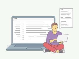 Website, Programmierung, Entwicklungskonzept. junger freiberuflicher Programmierer, der mit Laptop codiert. flache Vektorillustration vektor
