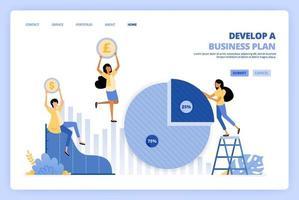 Volkstreffen zur Planung der Unternehmensstrategie bei der Entwicklung des Unternehmensgeschäfts mit Analyse und Forschung. kann für Landing Page Template verwendet werden ui ux Web Mobile App Poster Banner Website Flyer Anzeigen