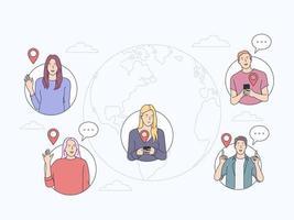 kommunicera, onlinechattkoncept. människor kommunicerar via internet. fjärrkontrollteam, internet och marknadsföring. platt vektorillustration vektor