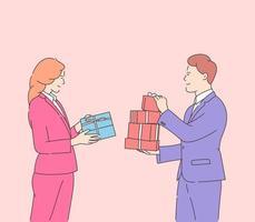 kärlek, dejting, romantik, relation, samhörighet, par koncept. glad attraktiv kvinna och leende man håller gåvor på alla hjärtans dag. platt vektorillustration
