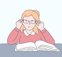 utbildning, lärande, skolkoncept. glad tjej studerar ämnen i skolan. platt vektorillustration