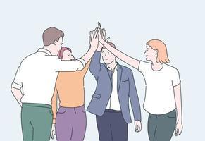 lagarbete och teambuilding koncept. unga affärsmän kontorsarbetare partners som står och ger händer efter framgångsrika förhandlingar. platt vektorillustration