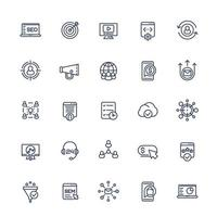 seo och digital marknadsföring linje ikoner set.eps