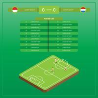 Isometrische Fußball-Illustration mit versus Tabelle