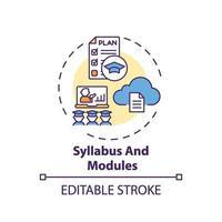 kursplan och moduler koncept ikon