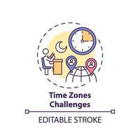 Zeitzonen fordern Konzeptsymbol heraus vektor