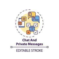 chatt och privata meddelanden konceptikon vektor