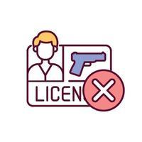 Lizenz für Waffen verweigert RGB-Farbsymbol vektor