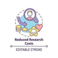 Konzeptikone für reduzierte Forschungskosten vektor