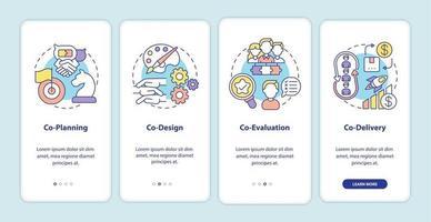 Koproduktionselemente auf dem Bildschirm der mobilen App-Seite mit Konzepten vektor