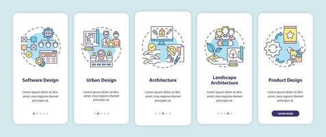 Co-Design von Anwendungsfeldern auf dem Bildschirm der mobilen App-Seite mit Konzepten vektor