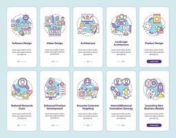 Kollaborative Produktentwicklung Onboarding des Bildschirms der mobilen App-Seite mit festgelegten Konzepten vektor