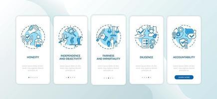 Journalistische Ethikregeln für das Onboarding des Bildschirms der mobilen App-Seite mit Konzepten