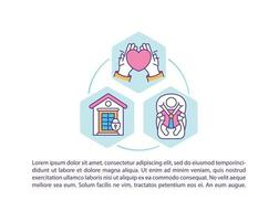 barnomsorg koncept ikon med text