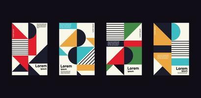 minimal årsrapport om geometrisk design i ljusa färger vektor