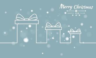 god jul bakgrund med presentask och band banner. vektor illustration