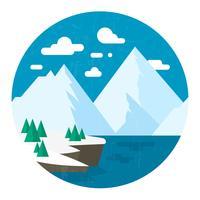 Platt vinter landskapsdesign vektor