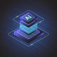 Isometrischer Chipsatz für künstliche Intelligenz auf Leiterplatte in futuristischen Konzepttechnologiegrafiken für Web, Banner, Karte, Abdeckung. Vektorillustration vektor