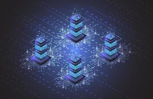 serverrum isometrisk, molnlagringsdata, datacenter, stor databehandling och datorteknik. vektor illustration