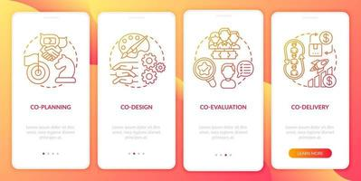 kollaborative Produktion Onboarding Mobile App Seitenbildschirm mit Konzepten vektor