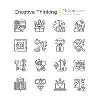 kreativa tänkande linjära ikoner set vektor