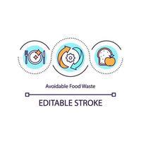 Konzeptikone für vermeidbare Lebensmittelverschwendung vektor