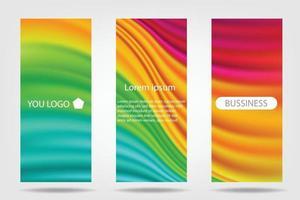färgglada broschyrreklam eller rulla upp bannerbakgrund, tom vågfärg abstrakt bakgrundsset