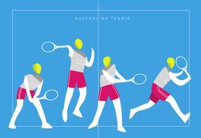 Australiensisk Tennis Logo Mascot Vector Flat Illustration