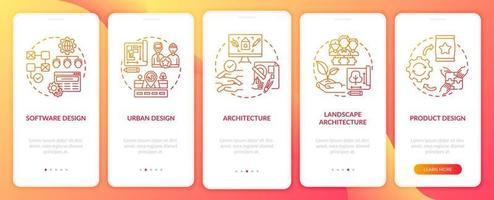 Co-Design-Anwendungsfelder Onboarding Mobile App-Seitenbildschirm mit Konzepten vektor
