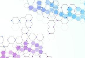 abstrakte hexagonale molekulare Strukturen im technologischen Hintergrund und im wissenschaftlichen Stil. medizinisches Design. Vektorillustration