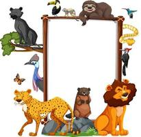 Tom banner med vilda djur på vit bakgrund vektor