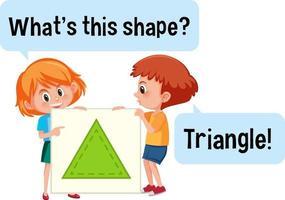 barn som håller en triangelformad banderoll med vad som är detta formteckensnitt