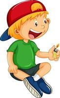 ein Junge, der eine leichtere Zeichentrickfigur isoliert hält vektor
