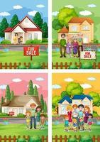 olika scener av familj som står framför ett hus till salu vektor