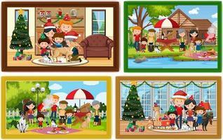 uppsättning olika familjefotoramar vektor