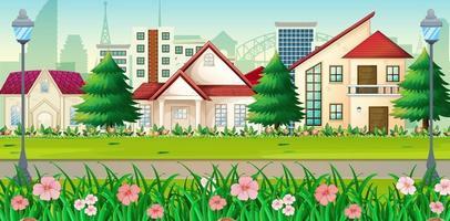 Vorstadtlandschaft mit vielen Häusern vektor