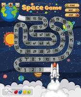 Brettspiel für Kinder im Weltraum-Stilvorlage vektor