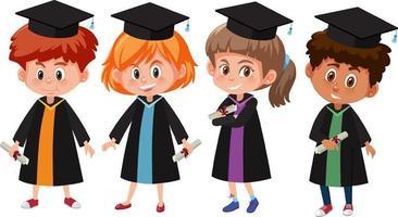 uppsättning olika barn som bär examensdräkter vektor