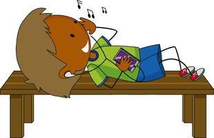 en pojke lyssnar musik seriefiguren isolerad vektor