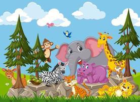 Zeichentrickfigur der Wildtiergruppe im Wald vektor