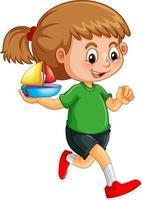 glückliche Mädchenkarikaturfigur, die ein Spielzeugschiff hält vektor
