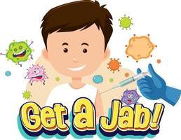 Holen Sie sich eine Stichschrift mit einem Jungen, der einen Impfstoff bekommt vektor