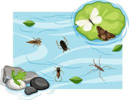 ovanifrån av vattenlevande insekter i dammen vektor